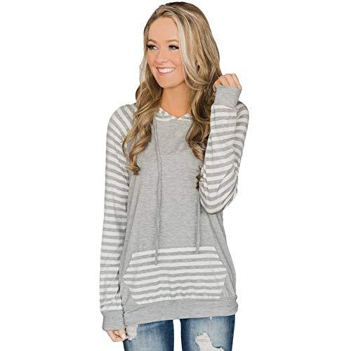 ZWLXY Frauen Sweatshirt Gestreift Doppel Kapuzen Ärmel Langarm Kangaroo Pocket Slim Sweatshirt Für Lässige Dating Urlaub,b,S -