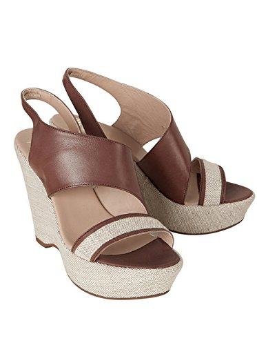 JANET & JANET Damen Schuhe Sandalen Sandaletten - Baumwolle - braun marronenaturale 41