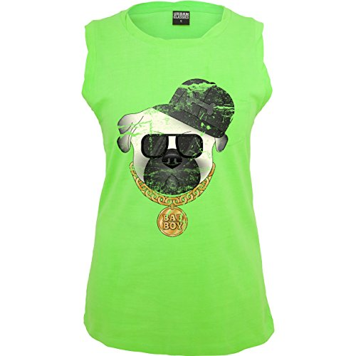Comic Shirts - Bad Boy Mops Vintage - ärmelloses Damen T-Shirt mit Brusttasche Neon Grün