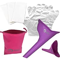 Female Ladies Wee Urine Funnel Lets Women Pee While Outdoors or Travelling, No Need To Use Dirty Unsanitary Toilets Again - FULL KIT INCLUDES; 1x Female Urinal, 1x Velvet Carry Pouch, Pack Of Tissues, Plastic Disposable Gloves