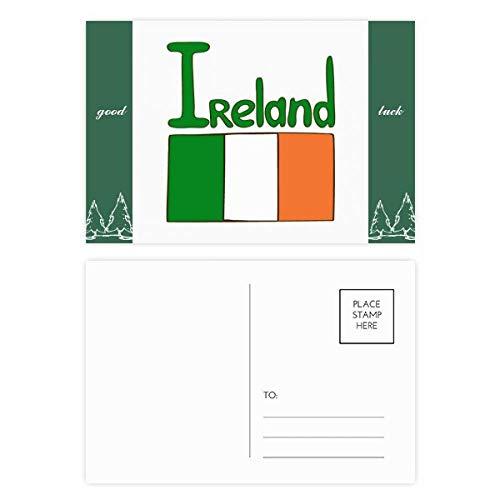 Postkarten-Set mit irischen Nationalflaggen, grünes Muster, 20 Stück -