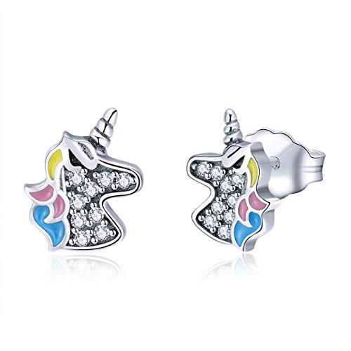 Plata de ley 925 Licorne Unicorn Memory Clear CZ Stud Pendientes para mujeres