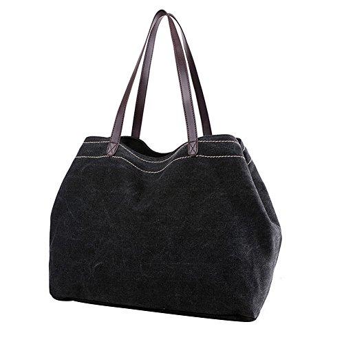 PB-SOAR Damen Vintage Canvas Drei Layer Schultertasche Handtasche Shopper Einkaufstasche Beuteltasche Freizeittasche mit großer Kapazität , 7 Farben auswählbar (Weiß) Schwarz