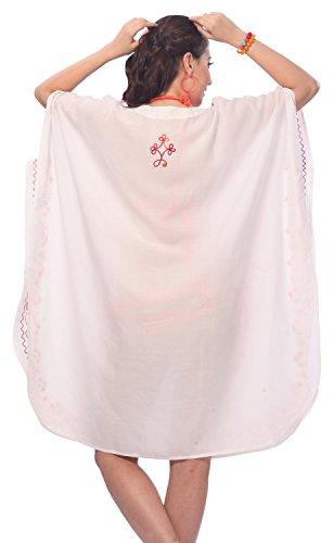La Leela rayonne légers flore cru brodées 5 en 1 aloha court caftan maillot de bain maillot de bain bikini beach party couvrent nightwear robe casual tunique robe de nuit Orange