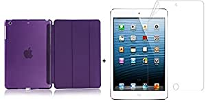 Go Crazzy Lightweight with Stand and Auto Wake/SleepTranslucent Back Flip Smart Cover for (Apple iPad Air 2 / iPad 6, (with glossy screen guard) Purple)