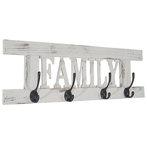 Mendler serie vintage appendiabiti guardaroba family legno paulonia 2x60x21cm ~ bianco