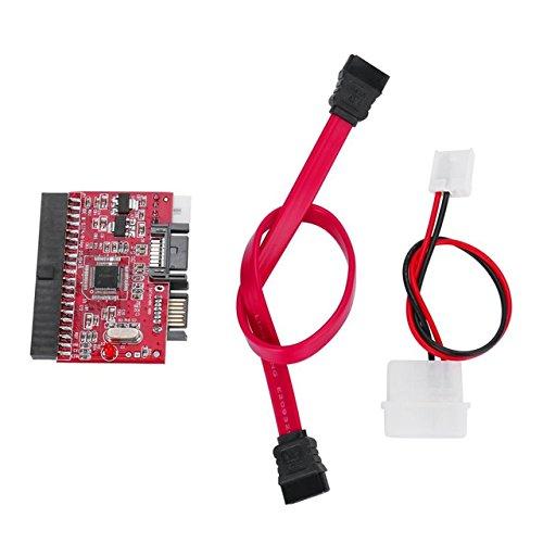 Jasnyfall Red Lightweight Durable IDE HDD zu SATA Serial ATA Converter Adapter Festplatten-Treiber-Unterstützung für ATA 133 100 HDD CD Adapter (Red) -