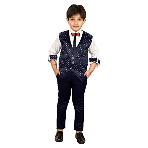 Zolario Boy's Cotton Printed Waistcoat, Shirt, Pant and Bow (Navy Blue, 13-14 Years)