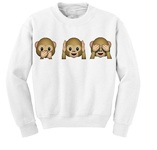 DELEY Fashion Damen Emoji Affen Print Langarm Pullover Shirt Tops Bluse Sweatshirt Weiß L