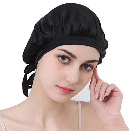 Komfortabler Nachtschlaf-Hut Große Schlafhauben-Kappe Satinhaube für Frauen zum Schlafen, Extra groß, Super glatt, Für natürliches Haar Haarhaube für Frauen (Farbe: Schwarz)