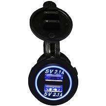 linchview 2Puerto 5V 4.2A USB Socket con LED Halo redondo y LED indicador luz integrado cargador de coche adaptador 12V/24V coches RV/Barco/ATV para Navi, teléfono móvil, GPS etc con cubierta