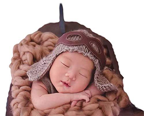 Neugeborenes Baby Mädchen häkeln Kostüm Outfits Fotografie Requisiten Pilot Hut+Patch 0-3 Monate (Baby Boy Kostüm Pilot)