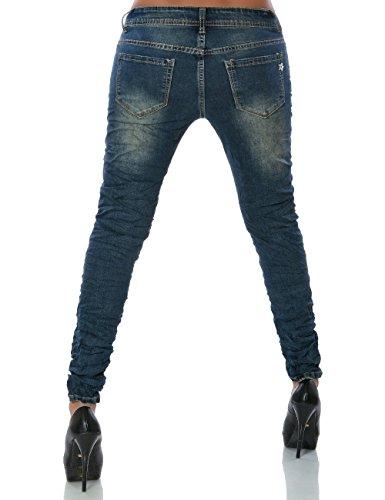 Damen Boyfriend Jeans Hose Reißverschluss No 14200 Blau