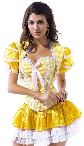 Fancy Me Damen sexy Goldlöckchen Märchen Korsett Halloween Kostüm Kleid Outfit - Gelb, 6 (Goldlöckchen Kostüm Damen)