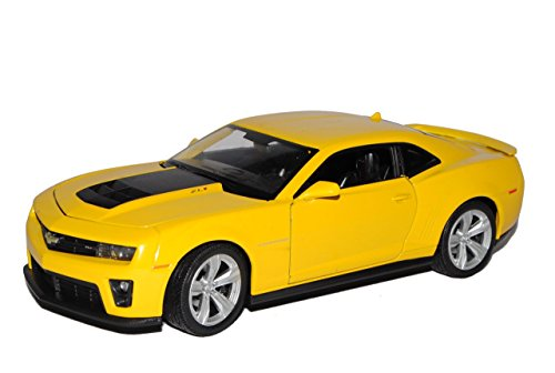 Chevrolet Chevy Camaro SS RS Coupe Gelb Schwarze Streifen Bumble Bee Bumblebee Transformers ZL1 5. Generation Ab 2009 1/24 Welly Modell Auto mit individiuellem Wunschkennzeichen (Bee-transformer-auto Bumble)