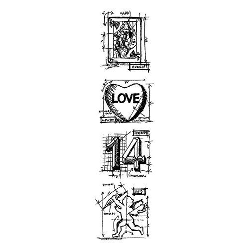 onymous Tim Holtz CMS154Mini-Entwürfe Streifen selbst Gummi Briefmarken 3Zoll x 25,4cm, Valentine ()
