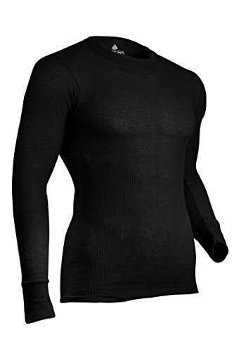 Knit Long Johns (indera Men 's traditional Long Johns Thermal Underwear Top, black, Medium by indera)