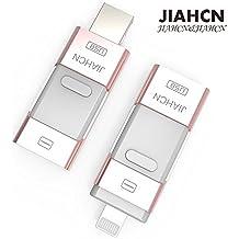 JIAHCN [Apple usb memoria] 3en1 USB Flash Drive memoria externa 16GB 32GB 64GB 128GB para Apple iPhone SE/5/5s/5c/6/6 Plus/6s/6s Plus/iPod touch 5/iPod nano 7/iPad Mini 1 2 3/ iPad 4/ Pro/ Air 1/ 2/Computadora Mac PC portátil (16GB)