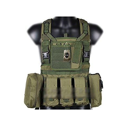 WorldShopping4U Militaire Armée Molle RRV Assault Combat Gilet Entraînement Protecteur Sécurité Gilet avec Poche (OD Vert) pour Tactique de Chasse Airsoft Extérieur Camping CS Guerre Jeu
