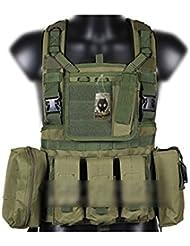 Militaire Armée MOLLE RRV Assault Combat Gilet Entraînement Protecteur Sécurité Gilet avec Poche (OD Vert) pour Tactique de Chasse Airsoft Extérieur Camping CS Guerre Jeu