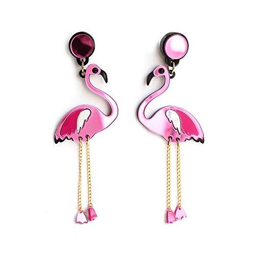 Mädchen Einzigartige Kostüm Niedliche - Rosa Flamingo Ohrring - CNNIK Kreativer Acryl niedlicher Ohrring - Leichte Mode moderner Stil Kostüm Ohrring