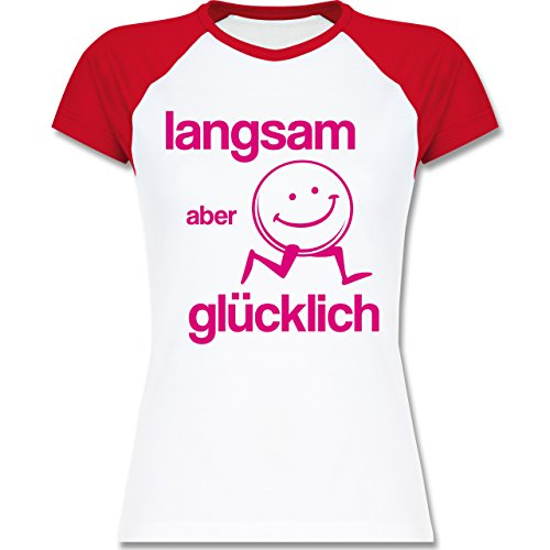 Shirtracer Laufsport - Langsam aber Glücklich - Zweifarbiges Baseballshirt/Raglan T-Shirt für Damen Weiß/Rot