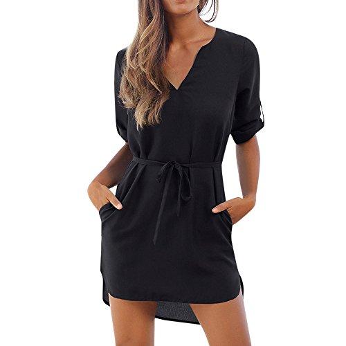 QUINTRA Damen Freizeitkleidung Solide 1/2 Ärmeln V-Ausschnitt Schnür-Tasche unregelmäßiger Rand Strandkleid