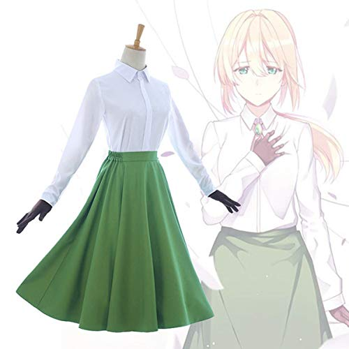 vergarden Auto Memory Puppe Cosplay Outfits Weiße Bluse Grünes Kleid Handschuhe Set Neue Uniform Freizeithemd,Male,M ()