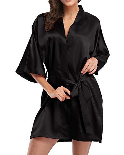 RUNYA Damen Satin Morgenmäntel Robe Kurzer Kimono Silk Bademäntel Nachtwäsche Negligee, 2-schwarz, M