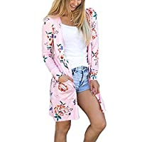 Women Long Sleeve Floral Printed Long Cardigans Jackets Coat Loose Outwear Overcoat