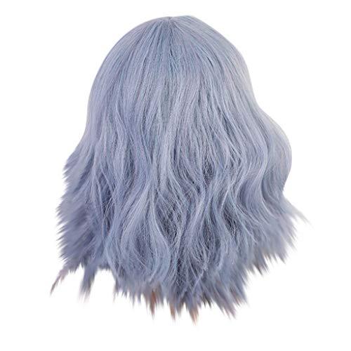 YA-Uzeun Perücke mit Pony, blau-violett, kurzes, glattes Haar, Perücke für Damen, für jeden Tag, Party, Halloween, Cosplay -
