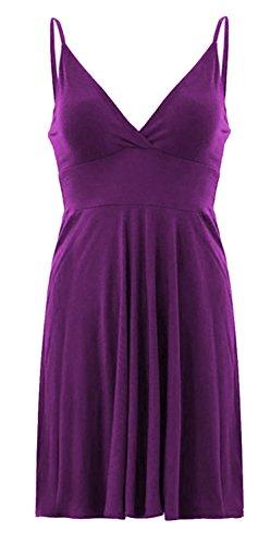 Damen Skater-Kleid Träger ausgestelltes Mieder Warp Swing Dress Violett - Violett