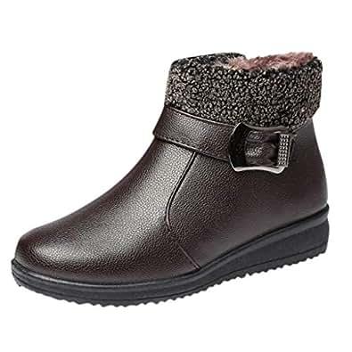 f8f5a7b7f510 Les Femmes Plus Velours éPais Chaud Bottines Femmes Grande Taille Bottes en  Coton Chaussures en Cuir
