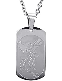 KONOV Joyería Collar con Colgante de hombre mujer, Cadena 45-65cm, Fénix Phoenix Firebird Dog Tag, Placa, Acero inoxidable, Color plata (con bolsa de regalo)