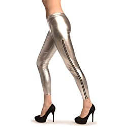 Silver Shiny Faux Leather Wet Look With Side Zip - Leggings - Plateado Leggings Talla unica (34-38)