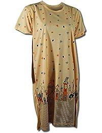 Damen Nachthemd halbarm mit tollem Motiv in 9 verschiedenen Farben