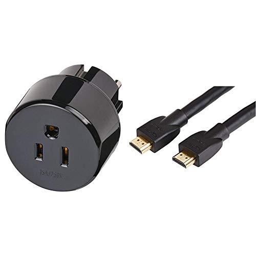 Brennenstuhl Reisestecker/Reiseadapter (Reise-Steckdosenadapter für: Schuko Steckdose und USA & Japan Stecker) schwarz & AmazonBasics Hochgeschwindigkeits-HDMI-Kabel 2.0, 3D, 4K-Videowiedergabe -