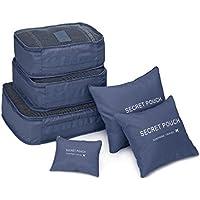 TiooDre Packing Cubes Value Set for Travel by, 6pcs Travel Essential Travel Luggage Organizador Storage Handle Bag Pouch Set (Marina de 6set)