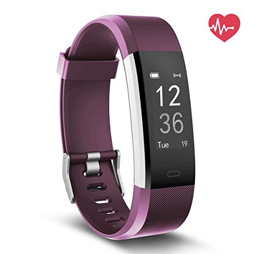 Fitness Tracker HR, Delvfire Activity Tracker Watch and Heart Rate Monitor, Waterproof Touch Screen Smart Bracelet for Women, Men, Kids with Sleep Monitor, Pedometer Step Calorie Counter iPhone Purple