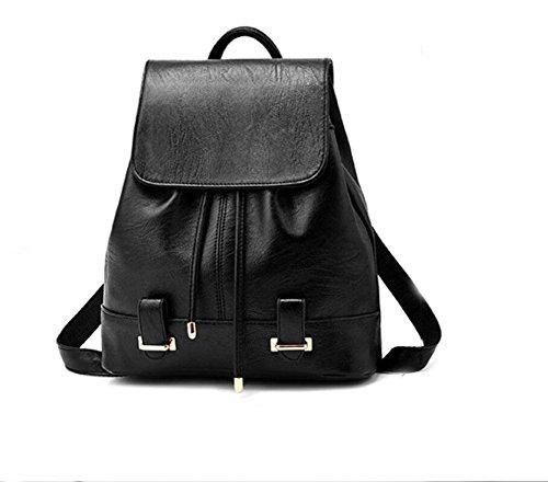 LDMB Damen-handtaschen Frauen-einfacher wilder PU-lederner Rucksack-beiläufige prägeartige Einkaufstasche für Kursteilnehmer retro black