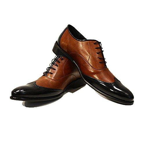 PeppeShoes Modello Gaetano - 45 EU - Handgemachtes Italienisch Leder Herren Braun Wing Tip Schuhe Abendschuhe Oxfords - Rindsleder Weiches Leder - Schnüren Wing Tip Oxford Lace