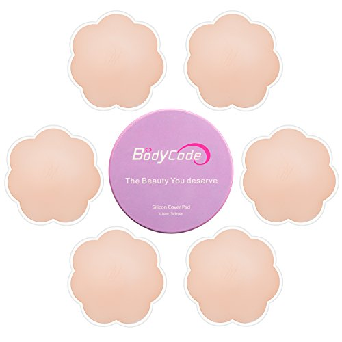 BodyCode 3 Pares de Pezoneras Adhesivas Reutilizables para Mujer, Parche de Silicona Invisible