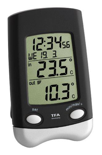 TFA Dostmann Wave Funk-Thermometer, 30.3016.01.IT, Uhrzeit/Datum/Wochentag Außentemperatur, Innentemperatur Base Station Sender