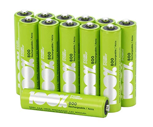 Pile Ricaricabili AAA - Confezione da 12 Batterie Ministilo Ricaricabili - PeakPower - NiMh AAA da 800 mAh - Precaricate e Pronte all'Uso