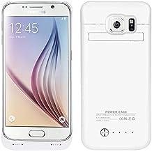 UKCOCO Galaxy S6 Battery Case, batería externa 4200mAh Mobile Power Bank, capacidad del indicador LED con soporte (Blanco)