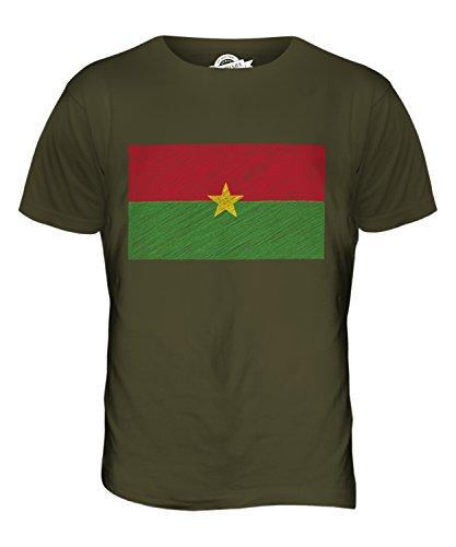 CandyMix Burkina Faso Kritzelte Flagge Herren T Shirt Khaki Grün
