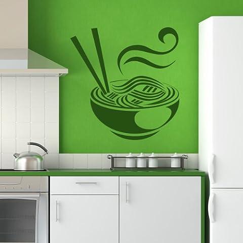 Ciotola di spaghetti Wall Sticker alimentare Adesivo Art disponibile in 5 dimensioni e 25 colori Extra Grande Verde erba