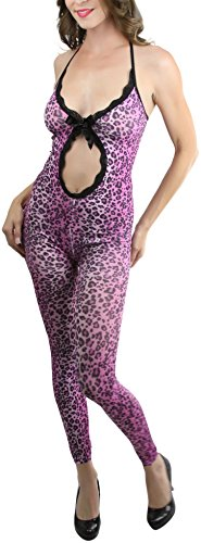 ToBeInStyle Women's Front Oval Cut Out Leopard Footless Bodystocking - LEOPARD (Bodystocking Footless)