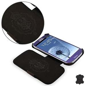 Étui / housse de protection luxe pour Samsung i9300 Galaxy SIII S3 Manna UltraSlim | avec la fonction de mise en vieille & EASYSTAND* idéal pour la lecture de vidéos & textes | CUIR VÉRITABLE* en noir