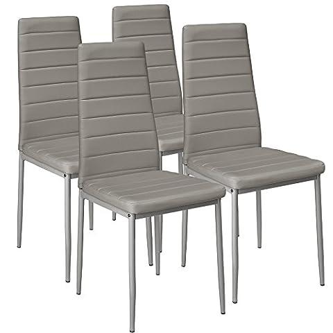 TecTake Lot de 4 chaise de salle à manger 41x45x98,5cm | Gris